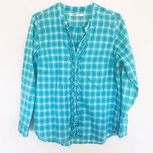Old Navy Blue Checkered Ruffle Button Down